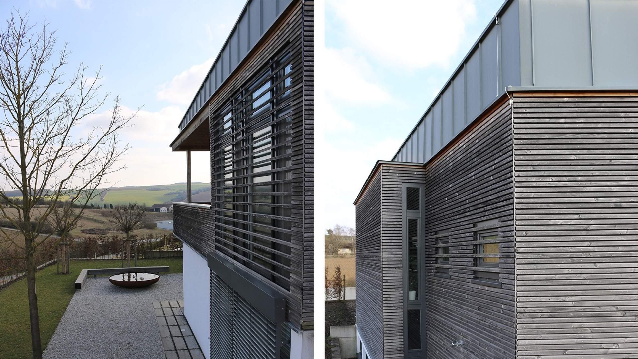 Einfamilienwohnhaus mit Holzleisten-Fassade Aussicht und Details